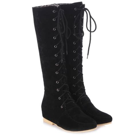 boots black wedge tie up suede knee high boots gamiss