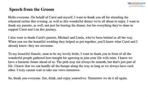 And Grooms Thank You Speech by Speeches For The Rehearsal Dinner Lovetoknow