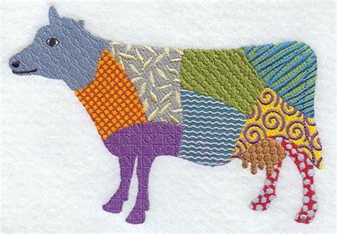 Patchwork Cow - patchwork cow machine embroidered quilt blocks azeb