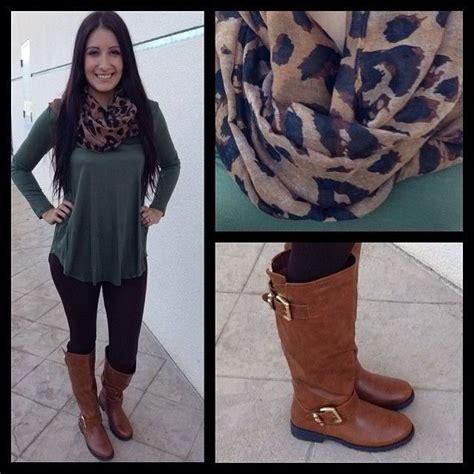 cheetah scarf green top black brown boots