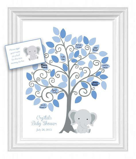 Baby Shower Sign In Book by Baby Shower Guest 11x14 Sign In Tree Poster Elephant Baby