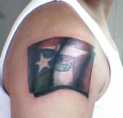 puerto rican flag tattoos designs an arm of half of the mexican flag and half of the