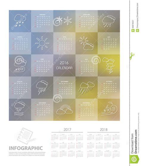 calendar design template vector 2016 calendar design template with weather icon set stock