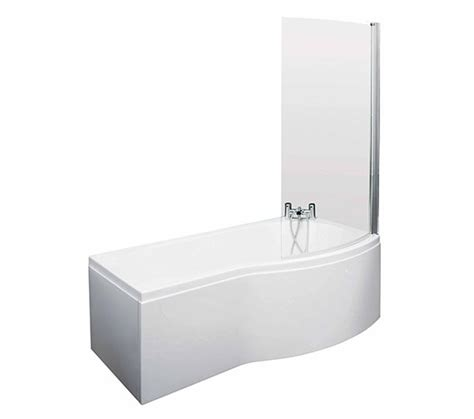1500mm shower bath 1500mm curved shower bath with screen and side panel rh pbs004