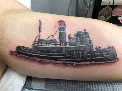 tugboat tattoo my a tugboat for my grandfather done by