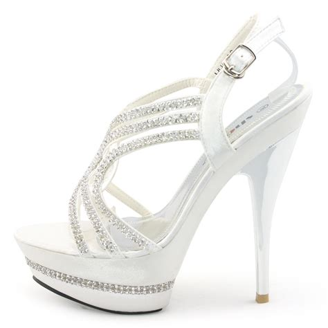 Platform High Silver And White new white silver satin strappy high platform sandal wedding shoes ebay