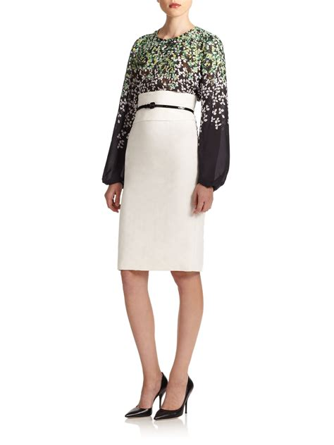 carolina herrera high waist pencil skirt in white lyst