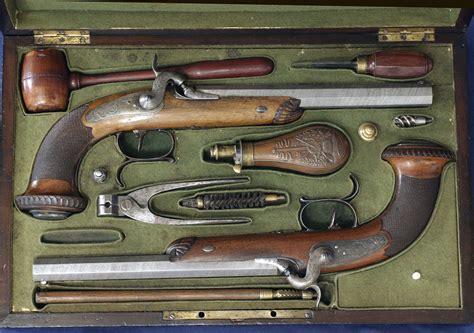 dueling pistol set cased pair of 45 caliber percussion cap dueling pistols