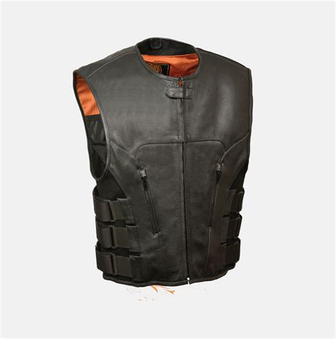 leather vest men s motorcycle vest tactical swat style leather vest