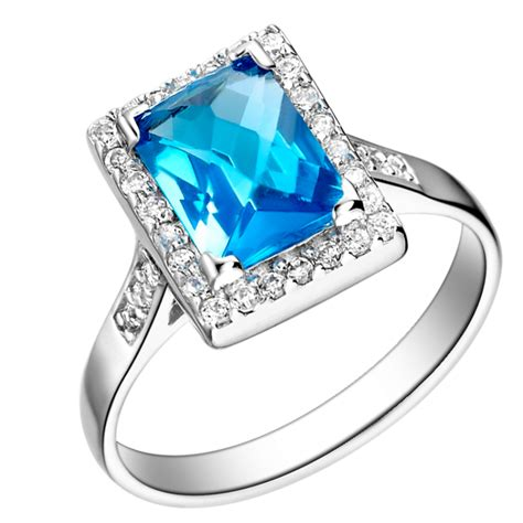 Cincin Baby Blue Topaz Sterling 925 Silver Size 7 1 high quality square baby blue zircon with white 925 sterling silver jewelry wedding ring