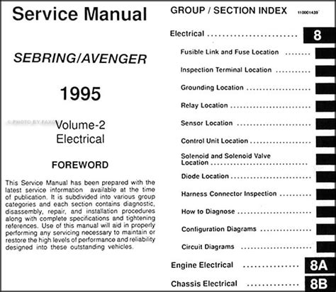 vehicle repair manual 1995 dodge avenger electronic toll collection 1995 chrysler sebring dodge avenger repair shop manual original 2 volume set