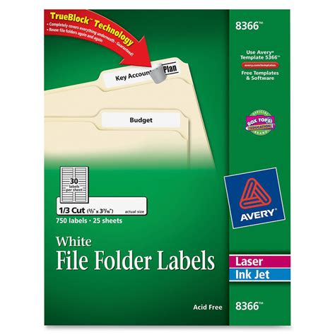 avery 8366 permanent asstd laser inkjet filing labels