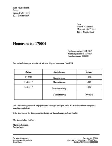 Honorarnote Schreiben Muster Honorarnote 214 Sterreich Konform Stellen Everbill Magazin