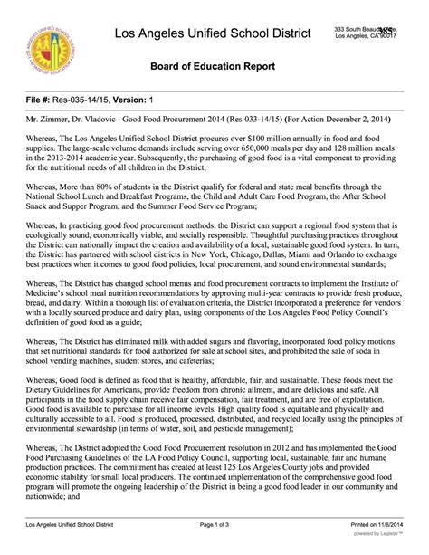 resolution plan template los angeles unified school district food