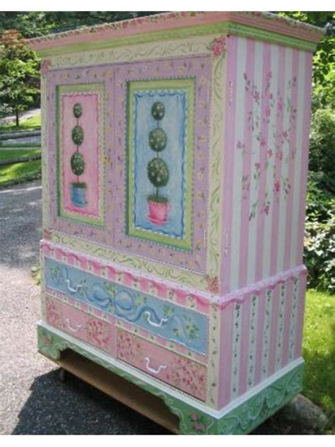 girls armoire armoire girls painted with topiaries the purple painted lady