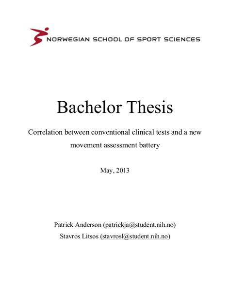 bachelor dissertation exles correlation between conventional clinical tests and a new