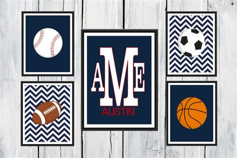 Sports Nursery Decor Sports Nursery Decor 5 Set Chevron Background