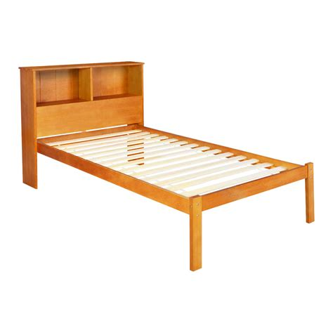 Pine Wood Bed Frames New Single Pine Wood Bed Frame Storage Shelf Ebay