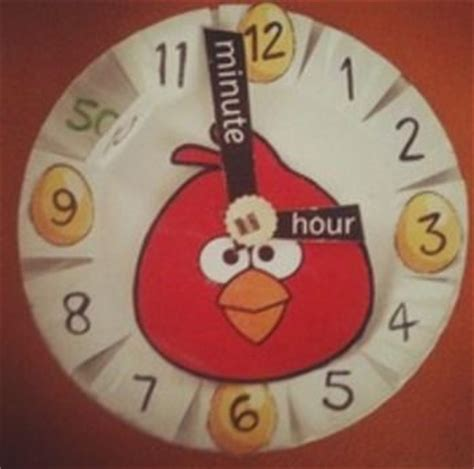 How To Make Clock With Paper Plate - angry birds paper plate clock paper clock and math