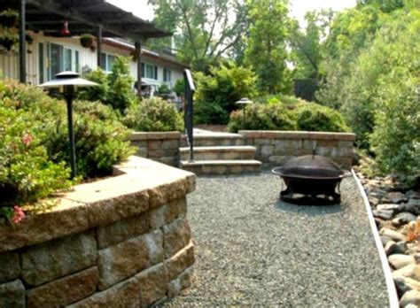 landscaping backyard ideas inexpensive outdoor concrete deck with pit for inexpensive