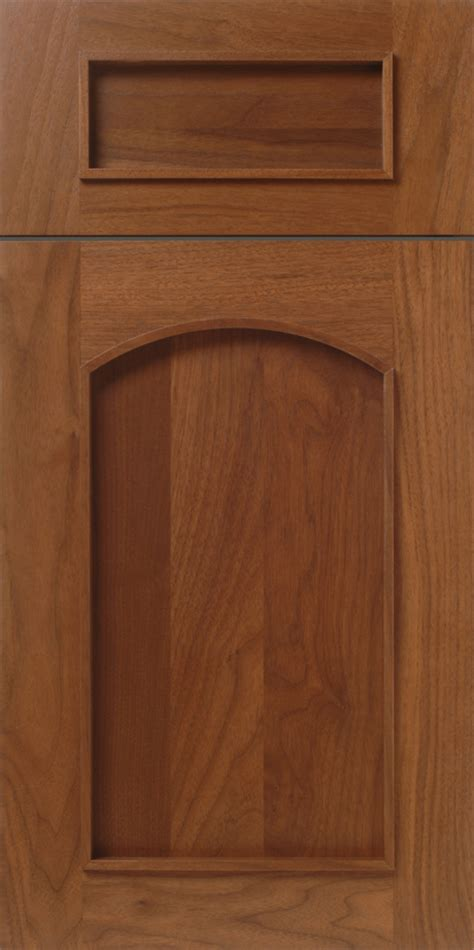 applied molding cabinet door with arched top in walnut