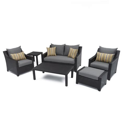 RST Brands Deco 6 Piece Patio Seating Set with Charcoal
