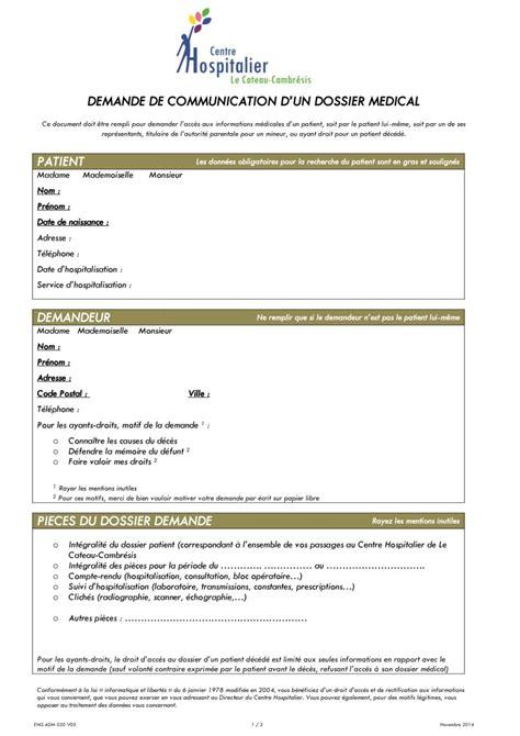 Demande De Dossier Médical Lettre Type Demande De Dossier M 233 Dical