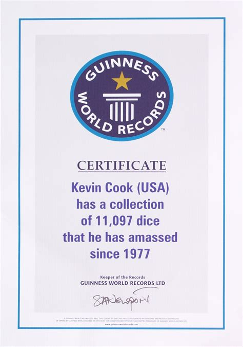 Guinness World Record Certificate Template dicecollector guinness claim information