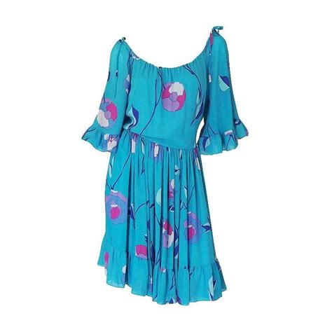 Emilio Pucci Girly Silk Dress by 1970s Shoulder Turquoise Silk Chiffon Emilio Pucci