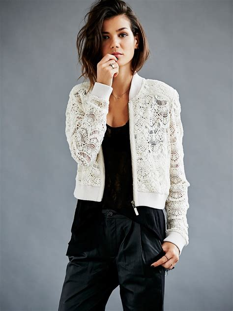Lace Bomber Jacket Colour By Mothercare free womens lace bomber jacket in white lyst