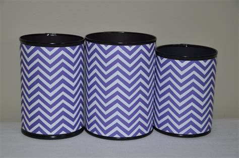 Handmade Pencil Holder - handmade pencil holder set purple and white chevron gifts