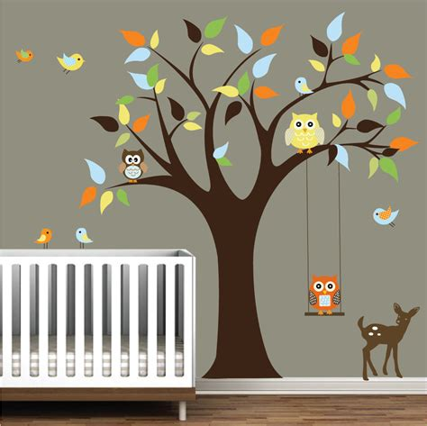 Nursery Wall Decals Tree Stickers With Animals Owls Wall Decal Tree Wall Decals For Nursery