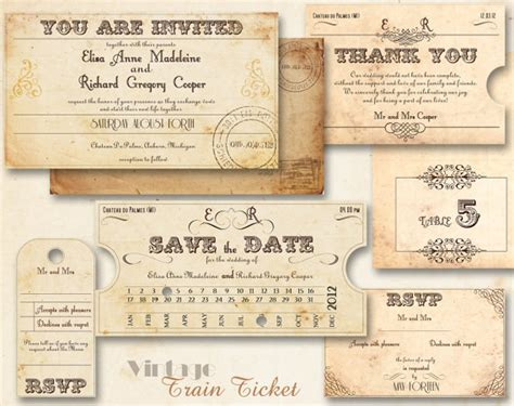 ticket wedding invitation template printable vintage wedding invitations from abandig on etsy