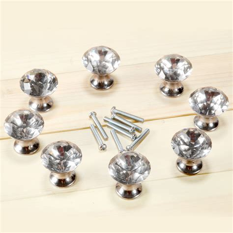 clear kitchen cabinet knobs set of 8 crystal clear diamond drawer draw knobs handles
