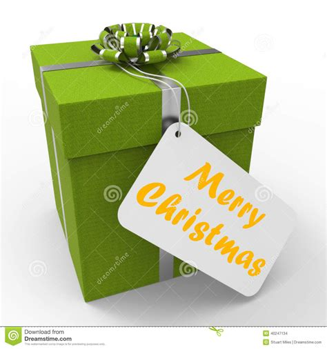 merry christmas gift means xmas and seasons stock