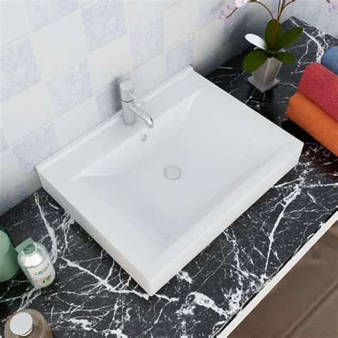 lavello bianco lavello bianco in ceramica rettangolare con foro rubinetto