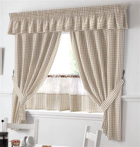beige and white gingham kitchen curtains pelmet 18 cafe