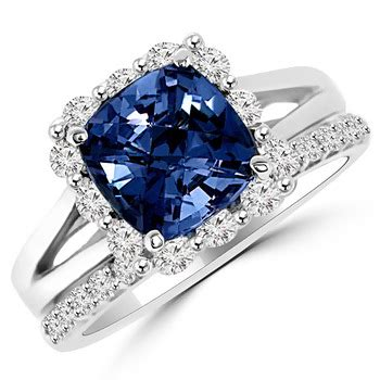 Blue Sapphire 3 35ct 3 35ct blue sapphire matching halo engagement