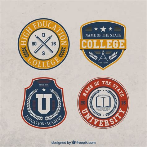 College Stickers set of four college vintage stickers vector free