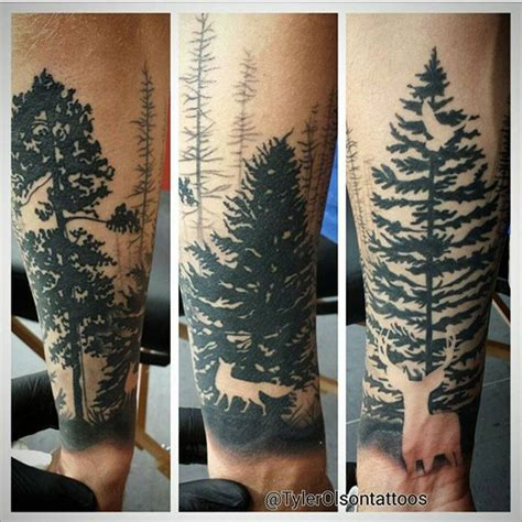 woodland tattoo designs here s a tree silhouette half sleeve by tylerolsontattoos