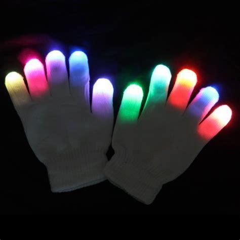 white raver gloves 6 modes multicolor green blue