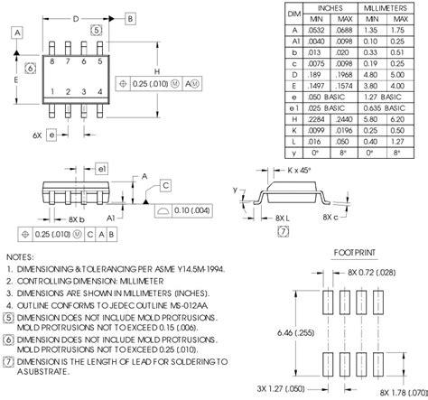 soic 8 footprint dimensions image gallery so8 package