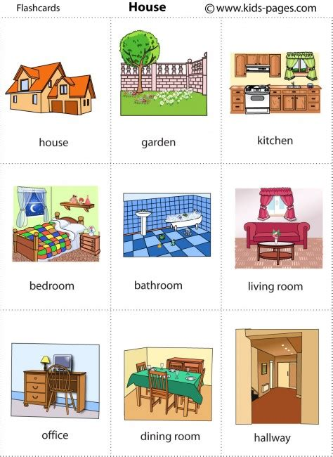 types of rooms in a house hundreds of free flashcards for sorting vocab etc also