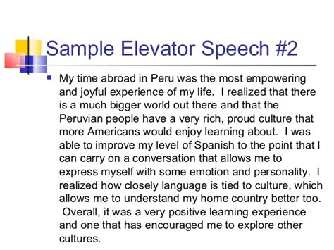 sle of elevator speech telling your study abroad story developing your international elevato