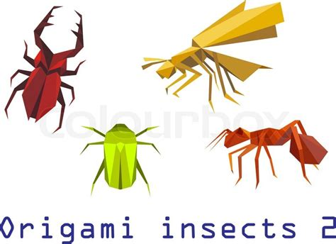Origami Insect - origami insects set of staghorn bee ant and beetle
