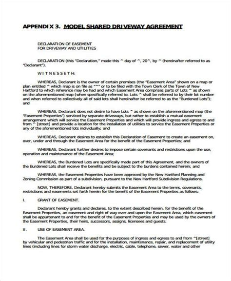 easement agreement template 6 driveway easement agreement form sles free sle