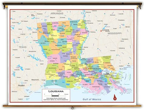 political map of louisiana louisiana state political classroom map from academia maps