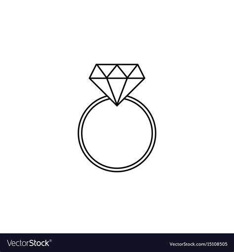 wedding ring line icon engagement ring vector image