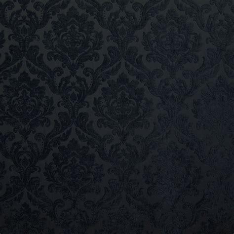 Black Chenille Upholstery Fabric - black chenille damask designer upholstery fabric