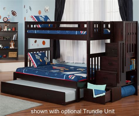 bunk beds twin over full with stairs cascade espresso twin over full staircase bunk bed